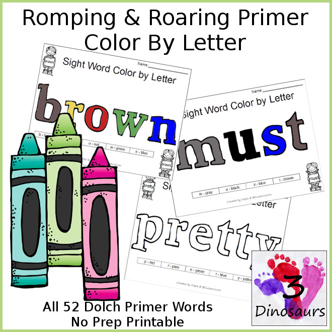 Color By Letter Sight Words for Dolch Primer - all 52 words - 3Dinosaurs.com