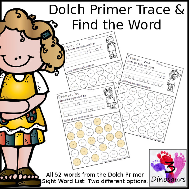 Primer Sight Word Trace & Dot the Word - two different opitions for tracing $3 - 3Dinosaurs.com