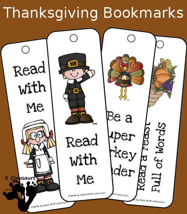 Free Thanksgiving Themed Bookmarks - 3Dinosaurs.com