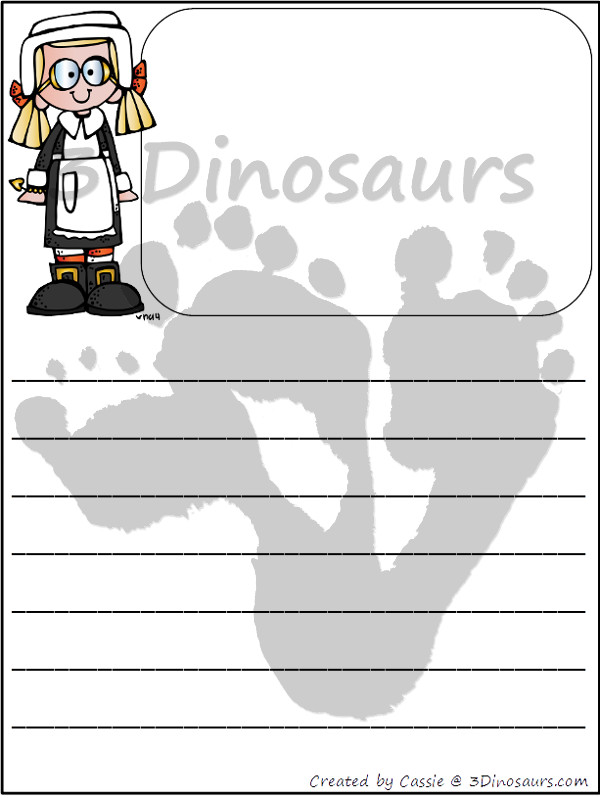 Free Thanksgiving Writing Paper - 3Dinosaurs.com