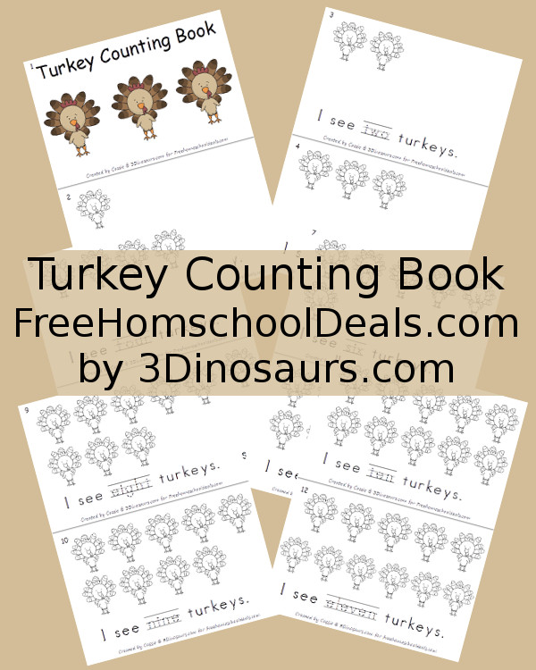 Free Thanksgiving Counting Turkey Book - for FreeHomeschoolDeals.com by 3Dinosaurs.com
