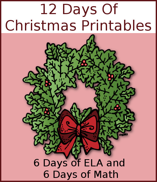 12 Exciting Days of Free Christmas Printables - 6 ELA and 6 Math from Royal Baloo and 3 Dinosaurs