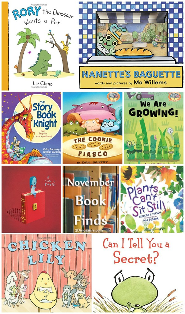 November 2016 Book Finds: friends, elephant and piggie, fear, family, pets, dragons, knights, books, and plants - 3Dinosaurs.com
