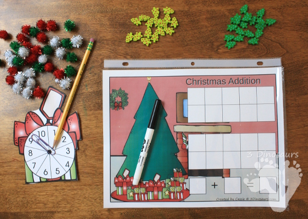 Free Hands-On Christmas Themed Addition & Subtraction Mats - 10 frames and adding from 1 to 20 - 3Dinosaurs.com