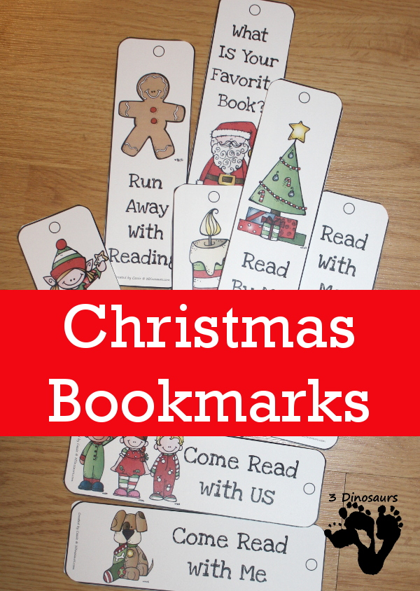 Free Christmas Themed Bookmarks - 8 different bookmarks - 3Dinosaurs.com