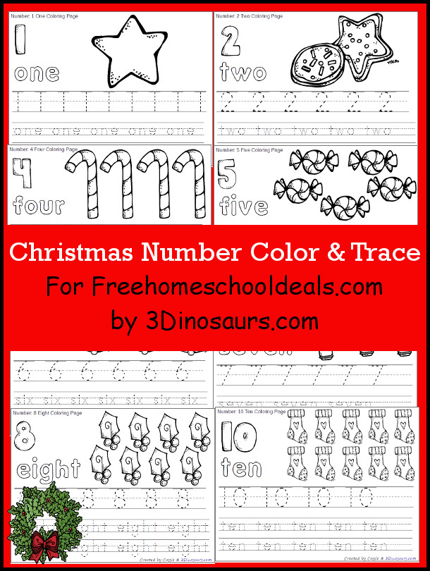 Free Christmas Number Color & Trace - 3Dinosaurs.com