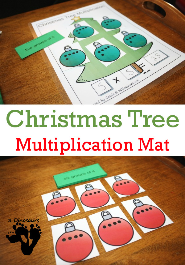 Free Easy to Use Christmas Tree Hands-On Multiplication Mat - hands on look at multiplication and groups of numbers added together - 3Dinosaurs.com