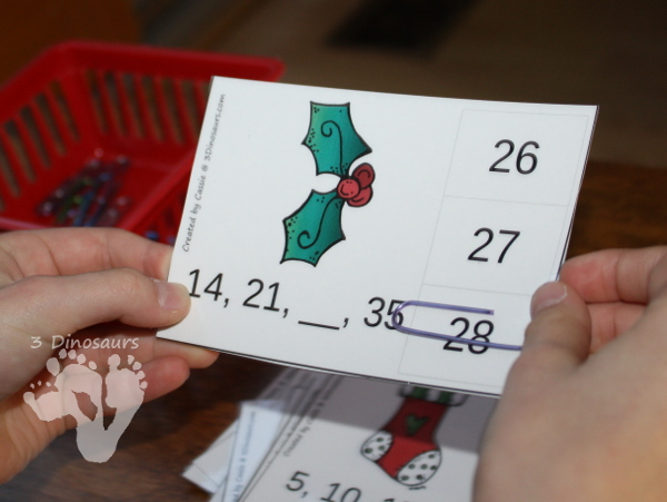 Free Christmas Themed Skip Counting Clip Cards - 9 pages of clip cards with skip counting from 1 o 12 - 3Dinosaurs.com