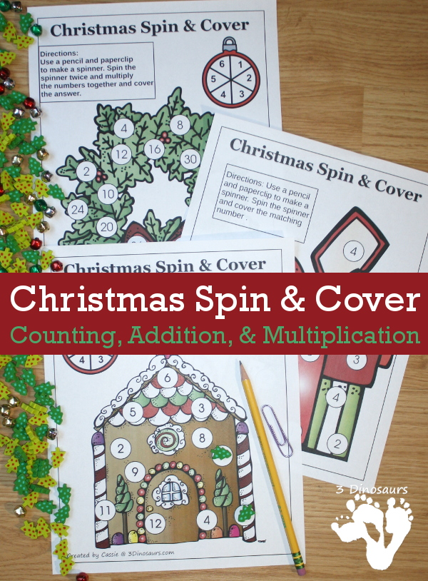 Free No-Prep Spin & Cover Christmas Math for Counting, Addition and Muliplication - 3Dinosaurs.com