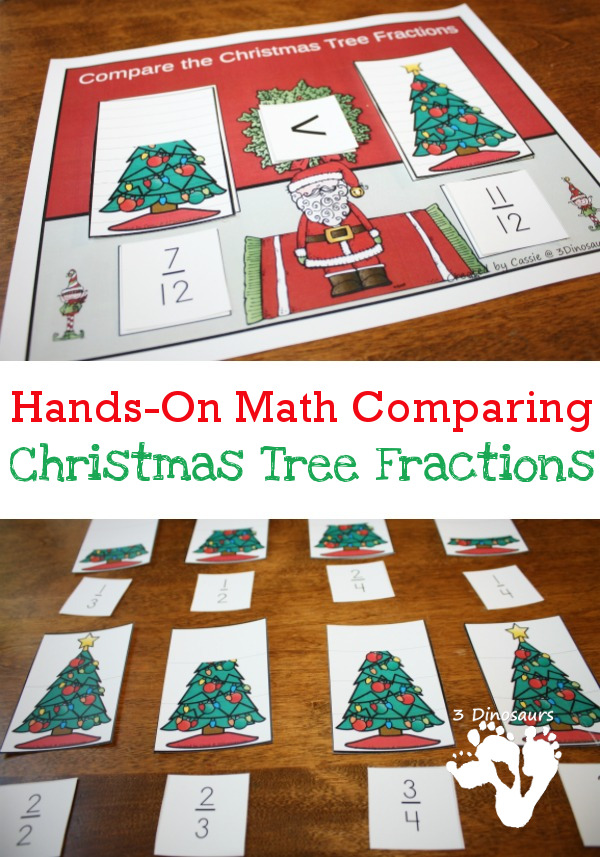 hands on comparing christmas tree fractions 3 dinosaurs. Black Bedroom Furniture Sets. Home Design Ideas