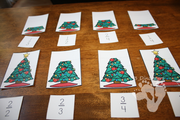 Free Comparing Christmas Fractions - hands on look at compare different fractions with a Christmas Theme - 3Dinosaurs.com
