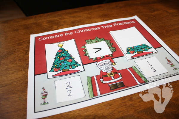 Christmas fractions hands on look at compare different fractions