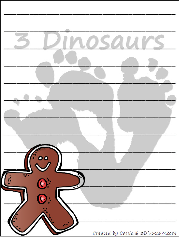 Free Christmas Themed Writing Paper For Kids - 6 different Christmas themes to pick from - 3Dinosaurs.com