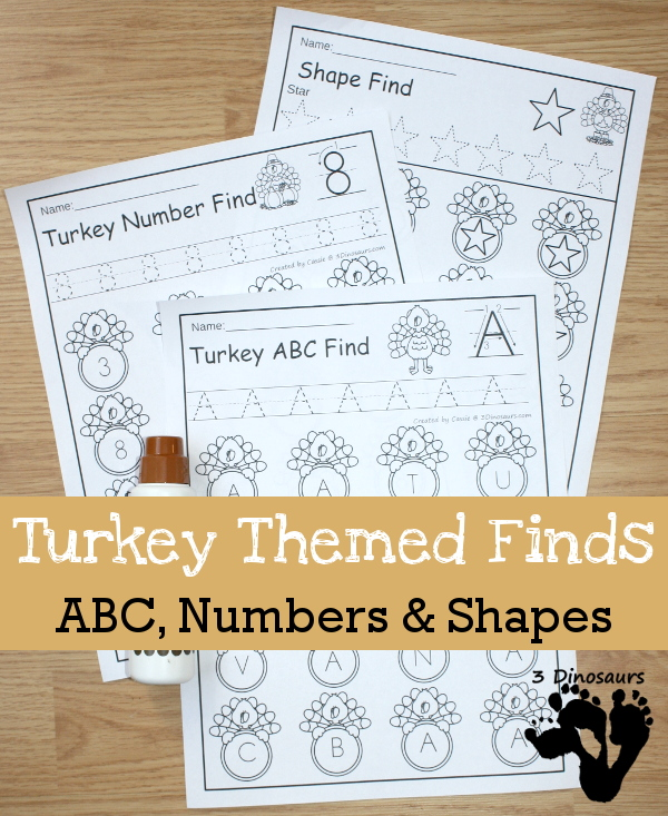 Turkey Themed Finds: Shapes, ABC, and Numbers: $ no prep pages for kids to use in preschool and kindergarten - 3Dinosaurs.com