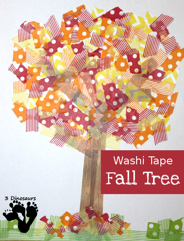 Easy Fine Motor Washi Tape Fall Tree - fall craft that works on fine motor skills for kids - 3Dinosaurs.com