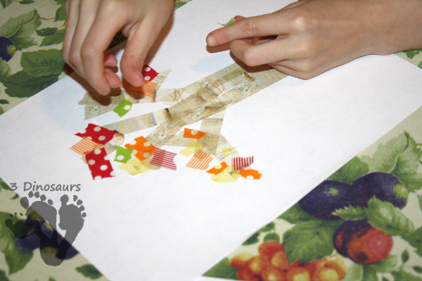 Easy Fine Motor Washi Tape Fall Tree - that works on fine motor skills for kids - 3Dinosaurs.com