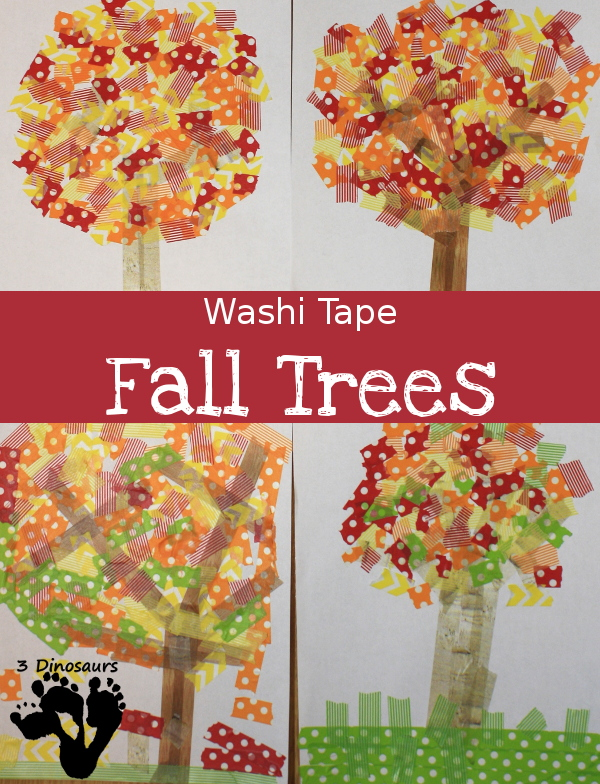 Easy Fine Motor Washi Tape Fall Tree - fallc raft that works on fine motor skills for kids - 3Dinosaurs.com