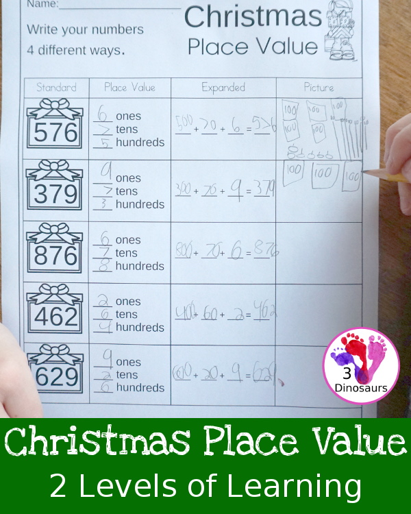 Free Christmas Place Value Printable - 2 pages for each level working on tens and ones or hundreds, tens and ones - 3Dinosaurs.com #nopreprprintables #christmas #mathforkids #freeprintables