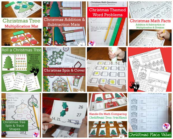 50+ Christmas Printables for Kids - with themed packs, learning to read, math, numbers, shapes and more - 3Dinosaurs.com