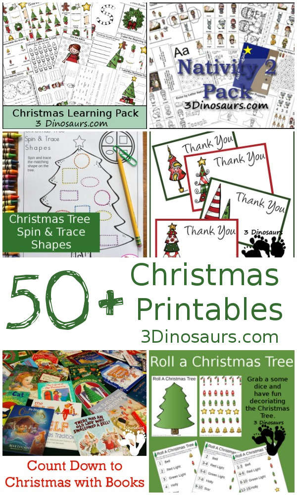 Christmas Printables from  3Dinosaurs.com
