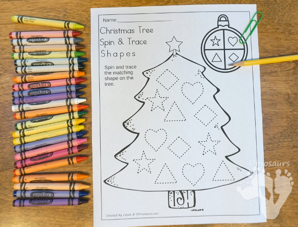 Free Christmas Tree Spin & Trace Shapes - 2 pages of no-prep shape tracing for kids - 3Dinosaurs.com #nopreprprintables #christmas #shapesforkids #freeprintables