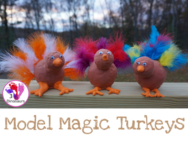 Fun To Make Model Magic Turkey - easy to make turkey and get a lot of fun fine motor work in as well - 3Dinosaurs.com #craftsforkids #thanksgiving