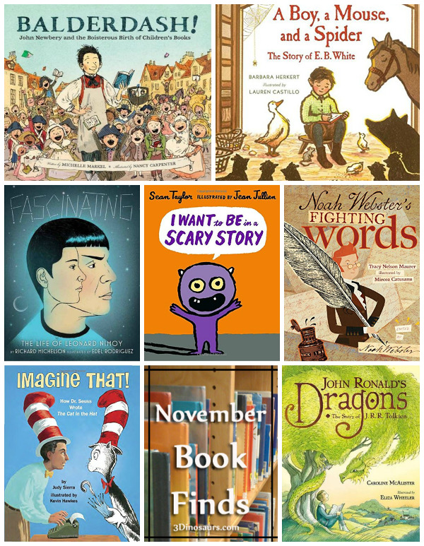 Library Book Finds from November 2017:   authors, book finds, dictionary, Dr Suess, dragons, EB White, jrr tolkien, making books, Spock, Star Trek - 3Dinosaurs.com