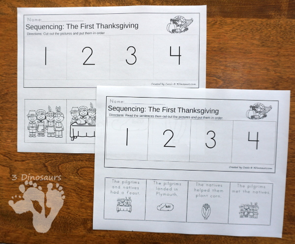 Sequencing: The First Thanksgiving & Cooking a Turkey -  with clip cards, task cards, no-prep worksheets and easy reader books $ - 3Dinosaurs.com #printablesforkids #sequencingforkids #fallprintables #tpt #teacherspayteachers