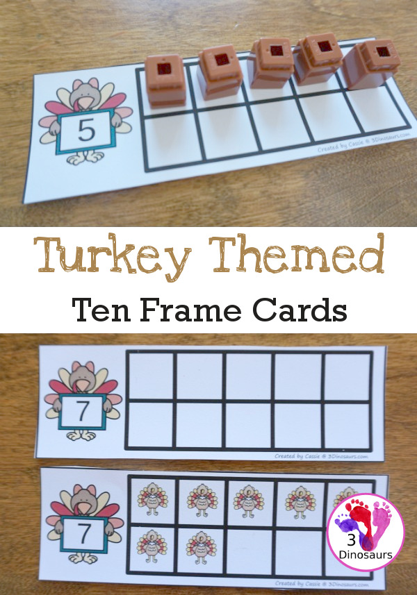 Free Turkey Ten Frame Cards - two different types of cards to use with turkeys - 3Dinosaurs.com #freeprintable #handsonlearning #thanksgivingprintables #kindergarten