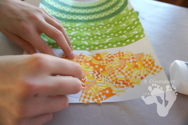 Fun Fine Motor Craft: Washi Tape Corn - easy craft to make for Thanksgiving with washi tape - 3Dinosaurs.com #craftsforkids #thanksgiving