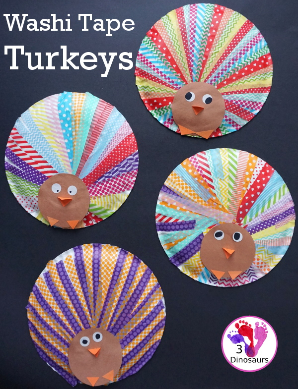 Fun to Make Washi Tape Turkeys - easy craft to make for Thanksgiving with a paper plate and washi tape - 3Dinosaurs.com #craftsforkids #thanksgiving