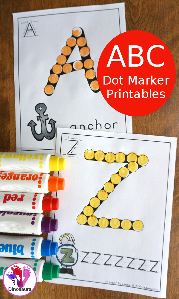 Free ABC Dot Marker Uppercase & Lowercase - 78 pages of printables with 2 options for each uppercase and lowercase letter - 3Dinosaurs.com