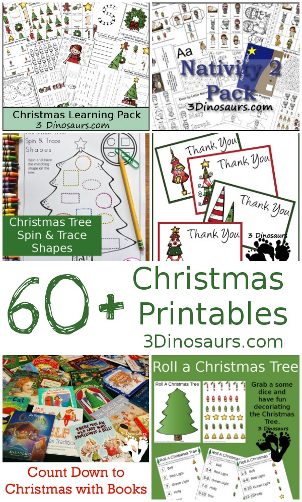 Over 1,200 pages of Christmas Printables from 3Dinosaurs.com