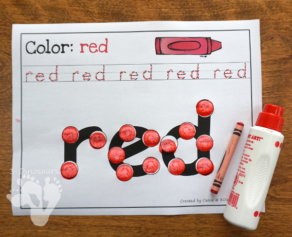 Free Color Dot Marker Words - 2 different types to work on spelling color words- 3Dinosaurs.com