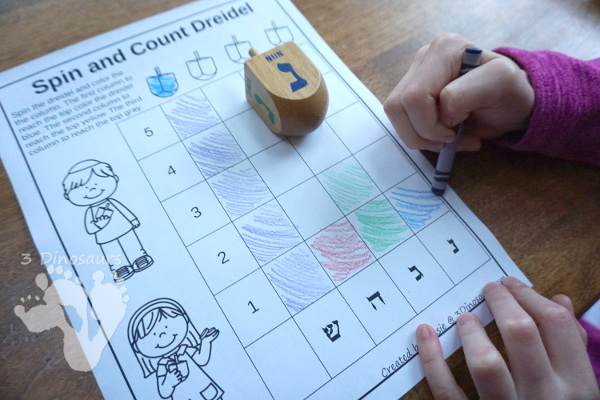 Free Hanukkah Spin & Count Dreidel - 2 graphs and one tally sheet to work on math with a dreidel - 3Dinosaurs.com