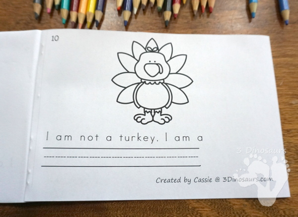 Free I Am Not A Turkey Easy Reader Book - 10 page book for kids to read and color - 3Dinosaurs.com