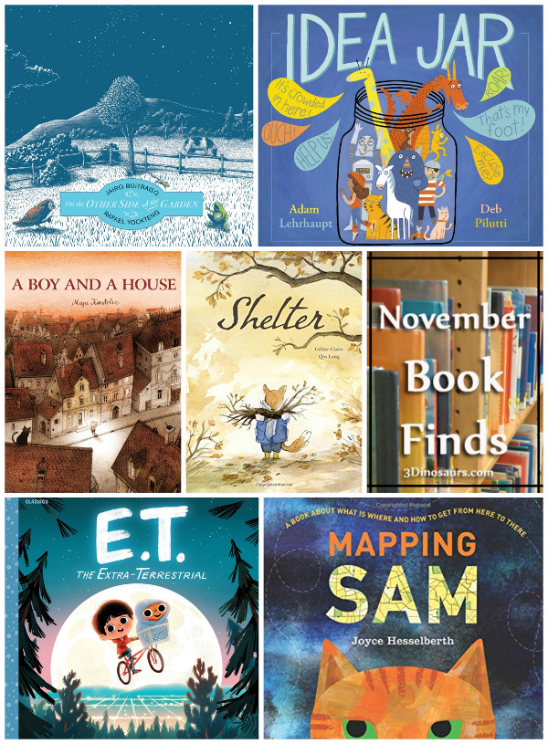 November 2018 Book Finds: wordless books, aliens, adjusting to new places, writing ideas, different types of maps, kindness - 3Dinosaurs.com