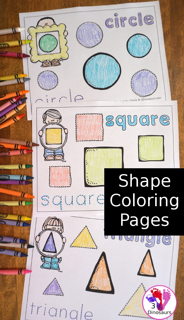 Free Easy No-Prep Shape Coloring Pages - 11 shapes for kids to color and trace - 3Dinosaurs.com