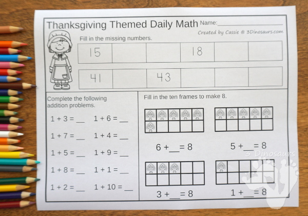 No Prep Thanksgiving Themed Addition & Subtraction and Multiplication & Division - 30 pages no-prep printables with a mix of addition and subtraction or multiplication and division activities plus a math center activities with Thanksgiving themes - 3Dinosaurs.com #noprepmath #tpt #addition #subtraction #multiplication #division #thanksgiving #fall