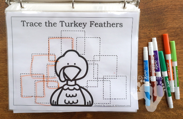 Free Turkey Feather Shape Tracing - 5 shapes for kids to learn with this easy no-prep printable - 3Dinosaurs.com #no-prep #shapes #freeprintables #kindergarten #prek