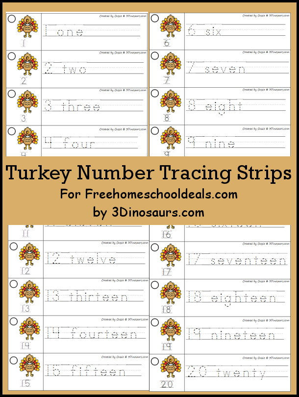 Free Turkey Theme Number Tracing Strips - with numbers 1 to 20 - 3Dinosaurs.com
