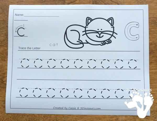 No-Prep ABC Tracing Pages Uppercase or Lowercase for the whole Alphabet - 52 pages of printabes for kids to work on the letters they are working on - 3Dinosaurs.com