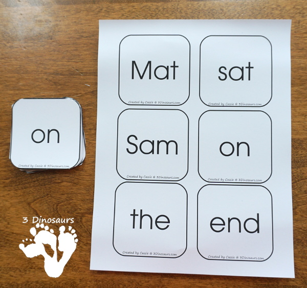 Early Reading Printables BOB Books Printables: Set 1 Book 1 Mat & 2 Sam - with 5 fun activities for kids to use with books working on CVC and first sight words - 3Dinosaurs.com
