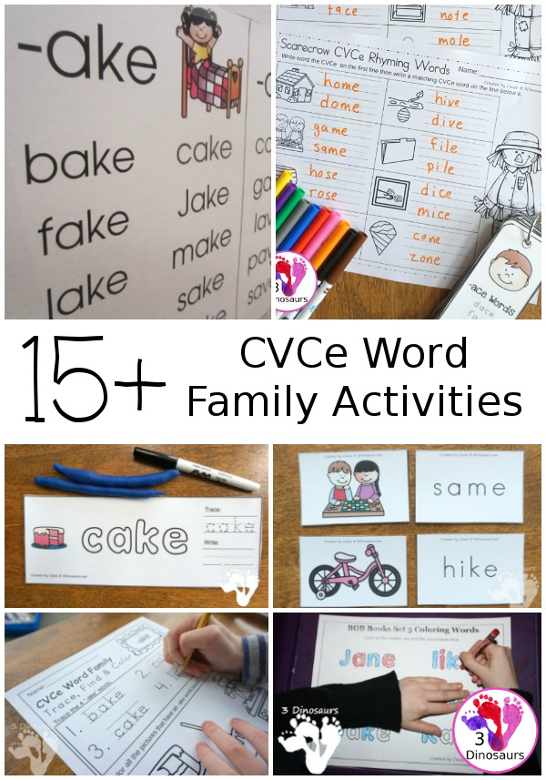 15+ CVCe Printables & Activities - you have a collection of hands-on, no-prep and great rescources for learing CVCe words - 3Dinosaurs.com
