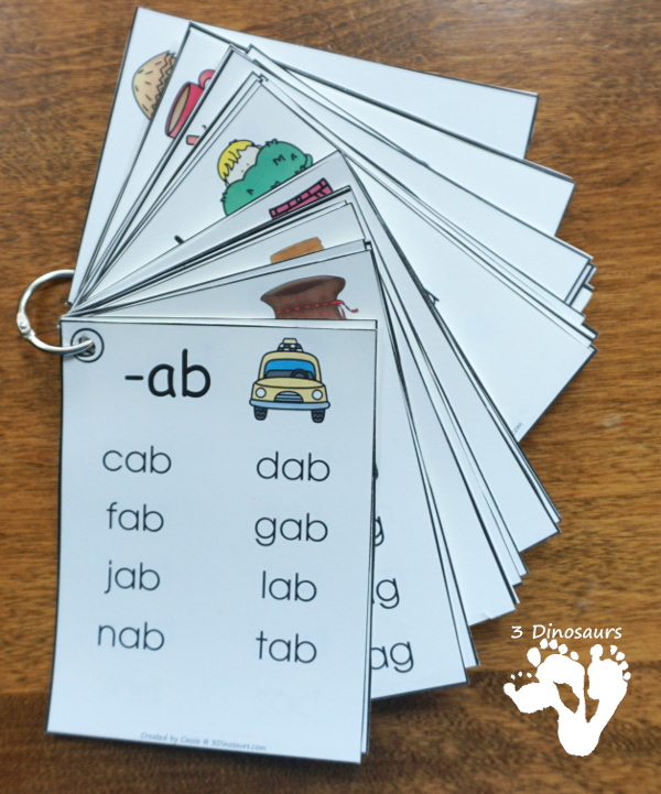 CVC Word Family Cards & Ladders St - with 34 word families for kids to learn with. 2 cards per page and up to 10 words per card  and cards in two sizes with matching word building ladders - 3Dinosaurs.com