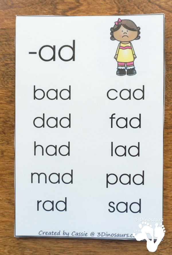 FREE CVC Word Family Wall Cards - with 22 word families for kids to learn with. 2 cards per page and up to 10 words per card - 3Dinosaurs.com
