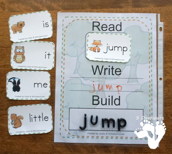 Forest Themed Sight Word Activities - Puzzles, cards, tracing strips, writing strips and find - using the Dolch Sight Word lists - These are a great way to work on spelling, writing, reading and more - 3Dinosaurs.com