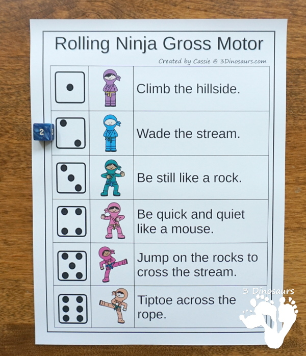 Free Ninja Themed Gross Motor with Ninja at Night - with 6 fun movements with fun idea from the book and other fun ninja ideas - 3Dinosaurs.com