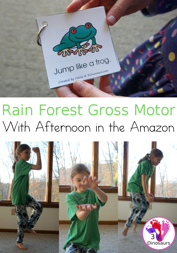 Free Amazon Rain Forest Theme Gross Motor With Afternoon in the Amazon - wth 6 fun animal movements. The animals all come from the book and go great with the Magic Tree House book - 3Dinosaurs.com