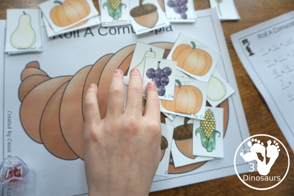 Free Roll A Cornucopia Printable - an easy way to work on counting 1 to 6, addition up to 12, or multiplication 1 to 6 or 1 to 12 with a hands-on math and recording sheet for addition and multiplication - 3Dinosaurs.com